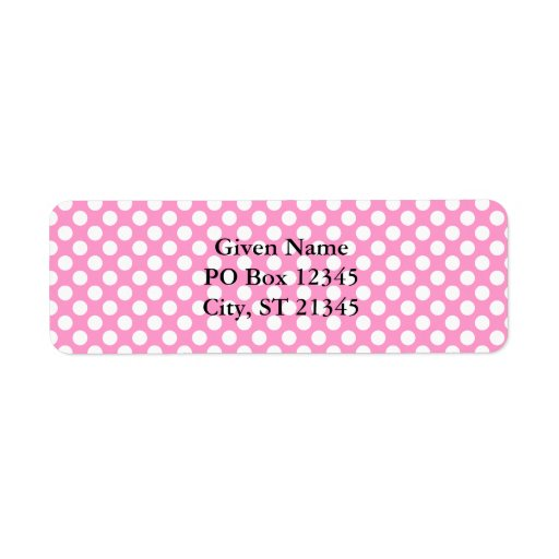 Pink & White Dots Return Address Label