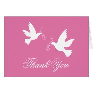 Pink & white dove birds wedding thank you card