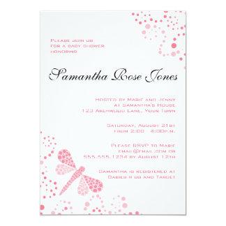Pink & White Dragonfly Elegant Baby Shower 5x7 Paper Invitation Card