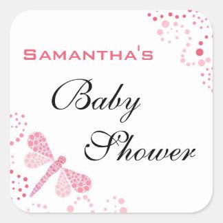 Pink & White Dragonfly Elegant Baby Shower Square Sticker