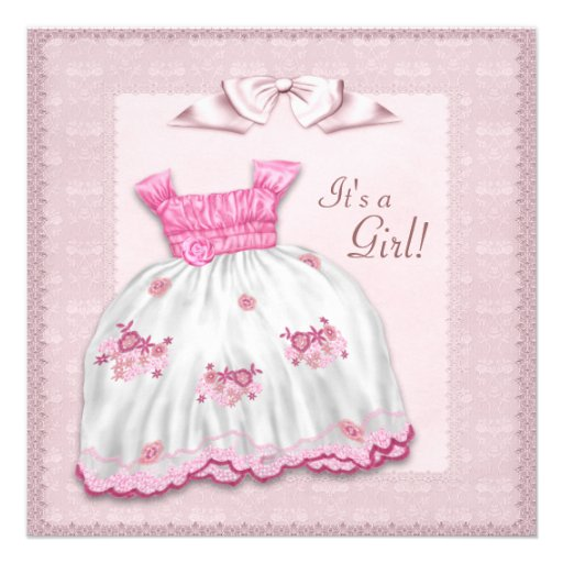 pink and white dress baby shower square paper invitation