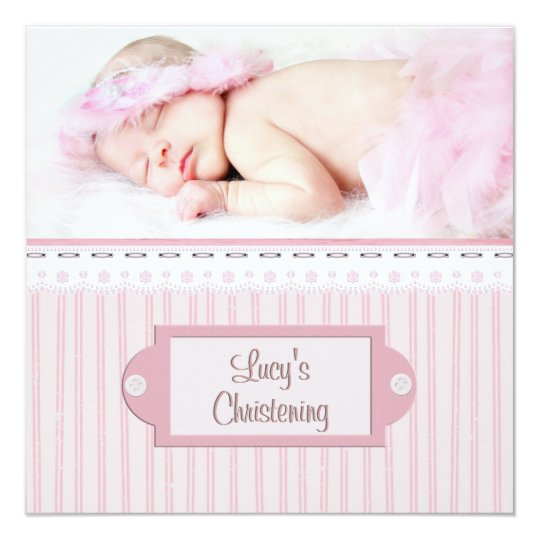 Pink White Eyelet Girl Photo Baptism Christening Card