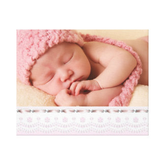 Pink White Eyelet Lace Baby Girl Canvas Portrait Gallery Wrap Canvas