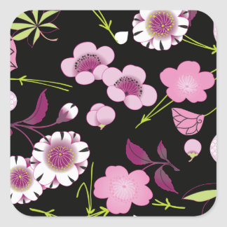 Pink White Fine Japanese Floral Kimono Pattern Square Sticker