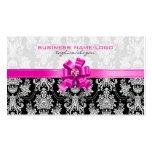 Pink & White Floral Damasks With Pink Bow Business Card Templates
