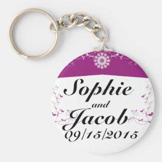 Pink White Floral Flourish Bridal Shower Basic Round Button Keychain