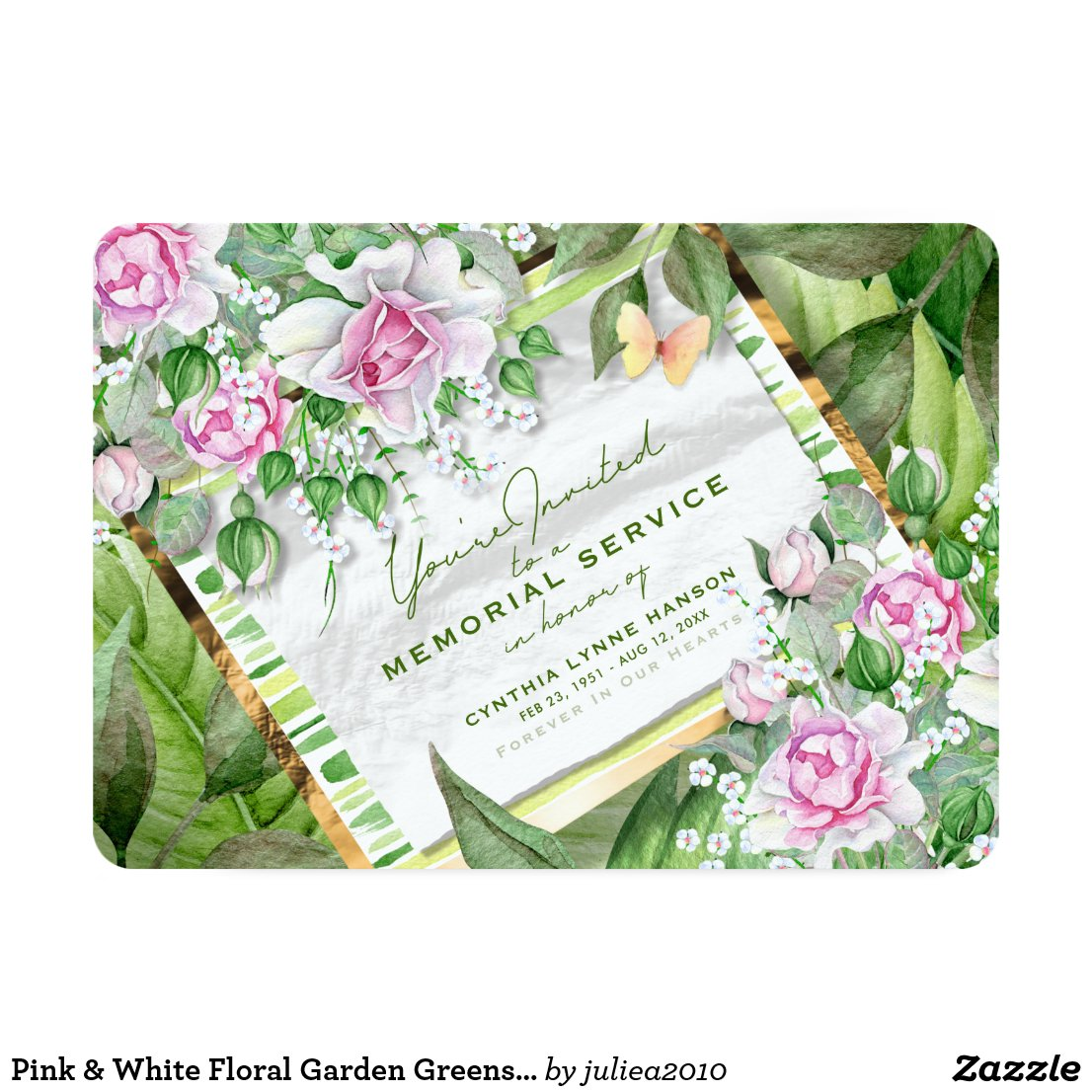 Pink & White Floral Garden Greens Memorial Invite