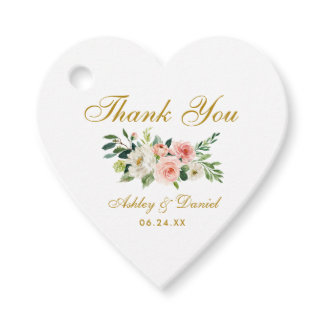 Pink White Floral Gold Wedding Thank You Heart Favor Tags