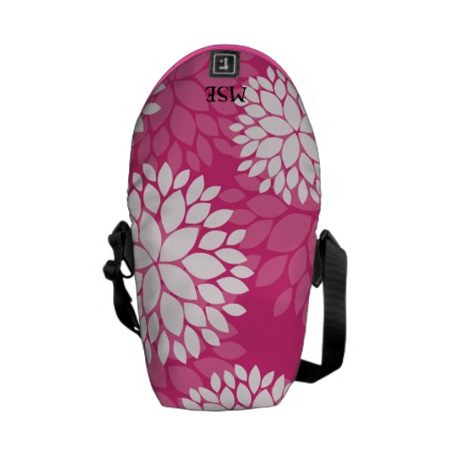Pink White Floral Pattern Messenger Bag