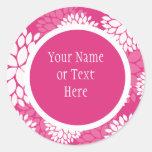 Pink White Floral Pattern Round Stickers