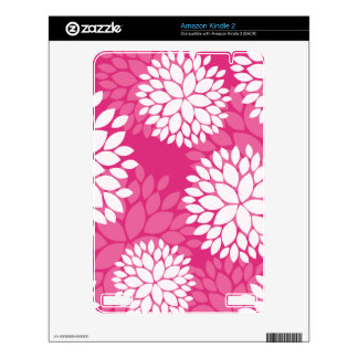 Pink White Floral Pattern Decals For Kindle