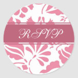 Pink & White Floral RSVP Envelope Seals Sticker