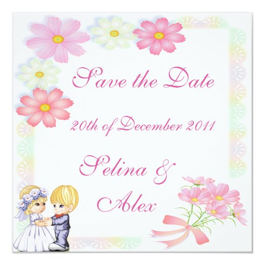 Pink & White Floral Save the Date Card
