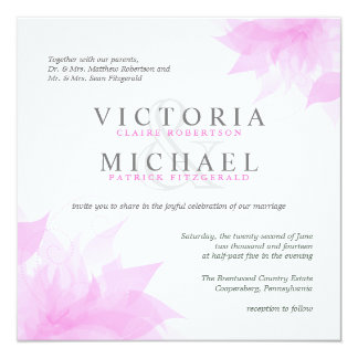 Pink & White Floral - Square Wedding Invitations