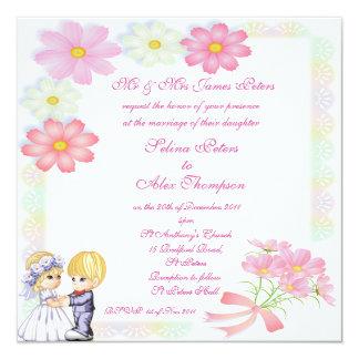 Pink  & White Floral Wedding Invitation