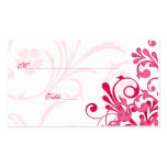 Pink & White Floral Wedding Place or Escort Cards Business Card Template