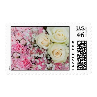 Pink white floral wedding postage stamps