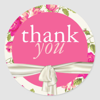 Pink & White Floral Wedding Thank You Stickers