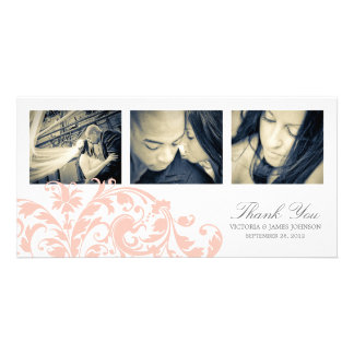 PINK & WHITE FLOURISH | WEDDING THANK YOU CARD PHOTO CARD