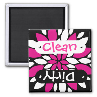 Pink White Flower Clean Dirty Dishwasher Magnet