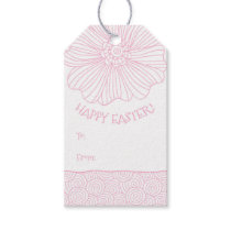 Pink White Flower Swirls Easter Gift Tags