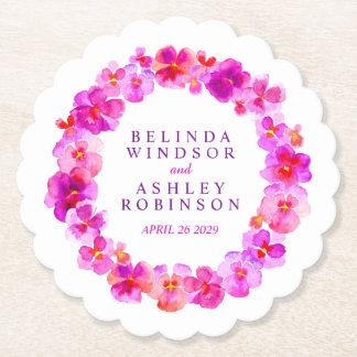 Pink white flower wreath watercolor art coasters