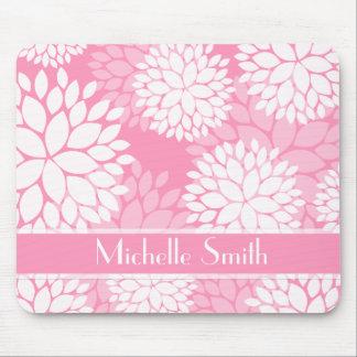Pink White Flowers Monogram Mousepads