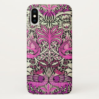 PINK WHITE FLOWERS,PEACOCKS AND DRAGONS iPhone X CASE