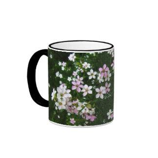 Pink-White Flowers Ringer Mug