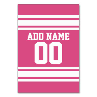 Pink White Football Jersey Custom Name Number Table Cards