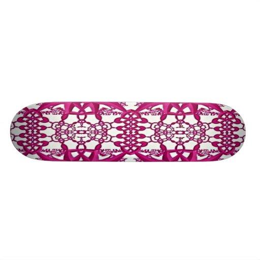 Pink White Fractal Lace Skateboard