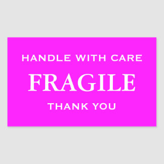 Pink/White Fragile. Handle with Care. Thank you. Rectangular Sticker