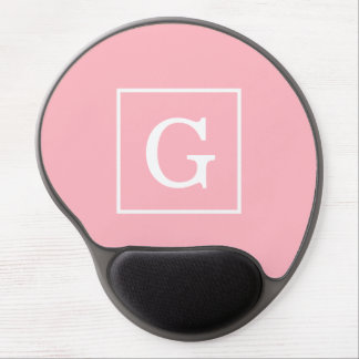 Pink White Framed Initial Monogram Gel Mouse Pad