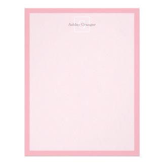 Pink White Framed Initial Monogram Letterhead