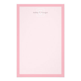 Pink White Framed Initial Monogram Stationery