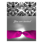 PINK WHITE FUCHSIA DAMASK GEM STONE MONOGRAM PERSONALIZED ANNOUNCEMENTS