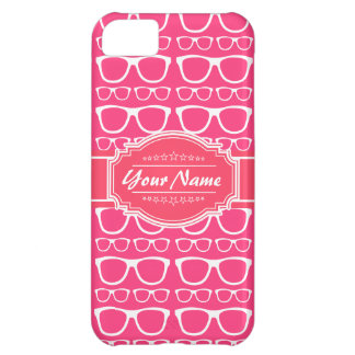 Pink & White Geek Nerd Glasses Personalized iPhone 5C Cases
