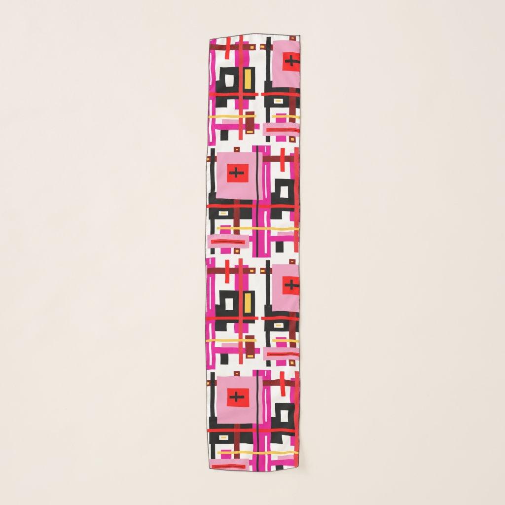 Pink White Geometric Pattern Chiffon Scarf