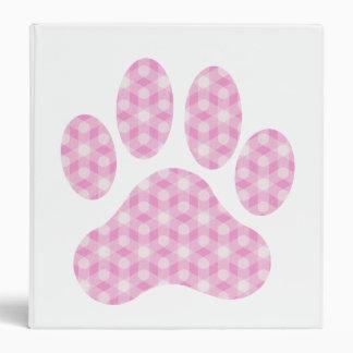 Pink White Geometric Pattern Paw Print 3 Ring Binder