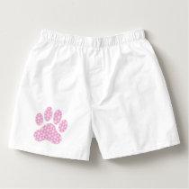 Pink White Geometric Pattern Paw Print Boxers