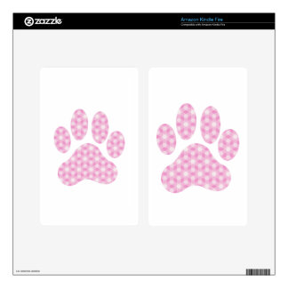 Pink White Geometric Pattern Paw Print Decal For Kindle Fire