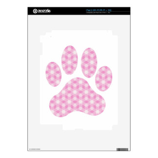 Pink White Geometric Pattern Paw Print Decal For The iPad 2