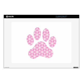 "Pink White Geometric Pattern Paw Print Decals For 15"" Laptops"
