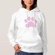 Pink White Geometric Pattern Paw Print Hoodie