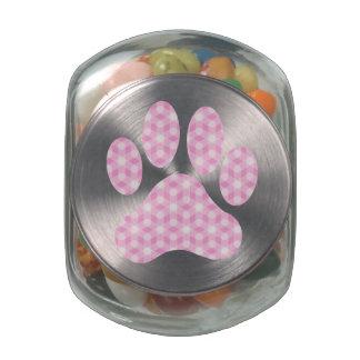 Pink White Geometric Pattern Paw Print Jelly Belly Candy Jar