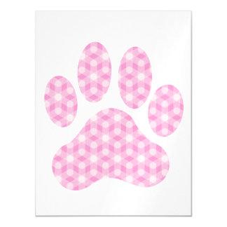 Pink White Geometric Pattern Paw Print Magnetic Card