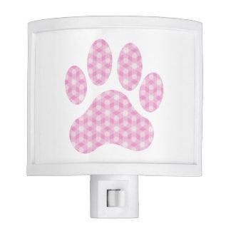 Pink White Geometric Pattern Paw Print Night Light