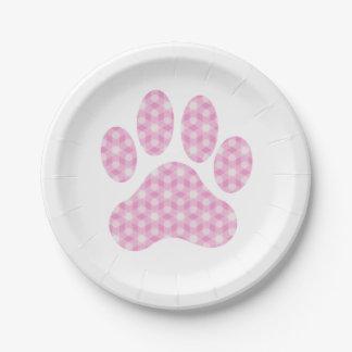 Pink White Geometric Pattern Paw Print Paper Plate