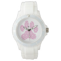 Pink White Geometric Pattern Paw Print Wristwatch
