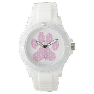Pink White Geometric Pattern Paw Print Wristwatch